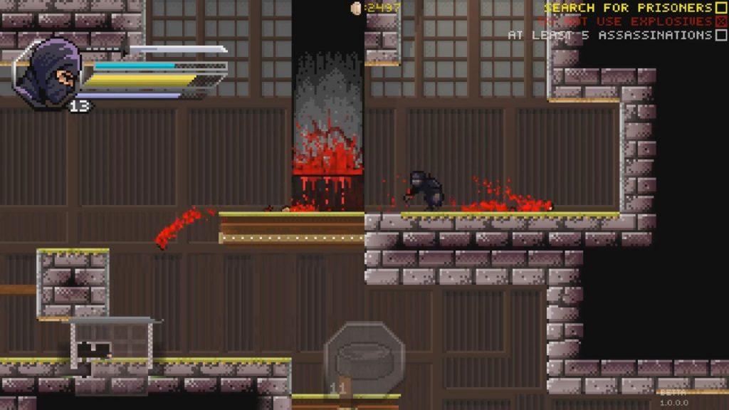 скриншот из Pixel Shinobi Nine demons of Mamoru